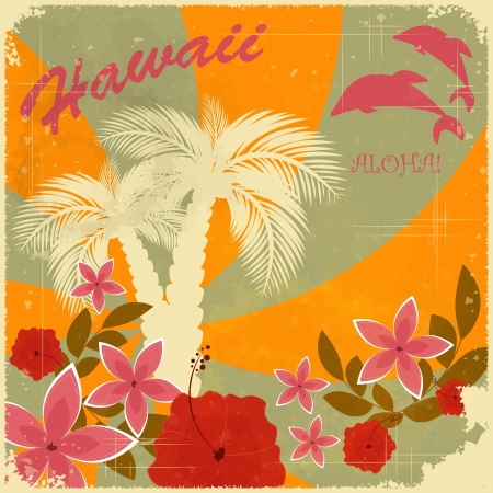 hibiscus flowers: Vintage Hawaiian postcard - invitation to Beach party
