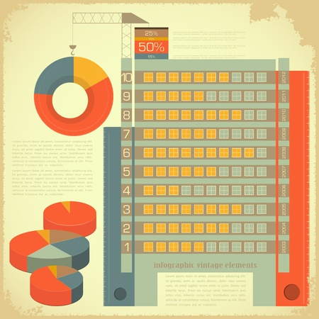 Vintage infographics set - House Construction and elements for presentation and Graph - vector illustration Vector