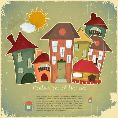 modern huis: Het verzamelen van huizen op vintage achtergrond - Retro kaart - vector illustratie