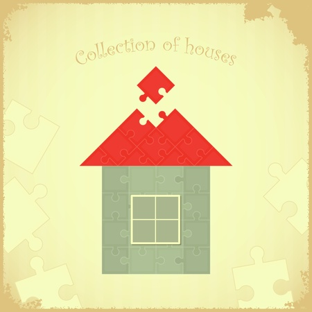 model home: Vintage card - Puzzle house on Grunge background - vector illustration