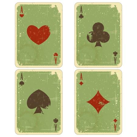 jeu de carte: cartes à jouer - quatre anciennes As isolé sur fond blanc - illustration vectorielle