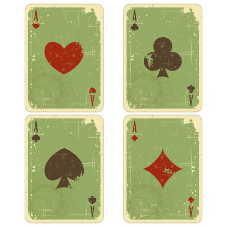 ace hearts: playing cards - four ace vintage isolated on white background - vector illustration Illustration