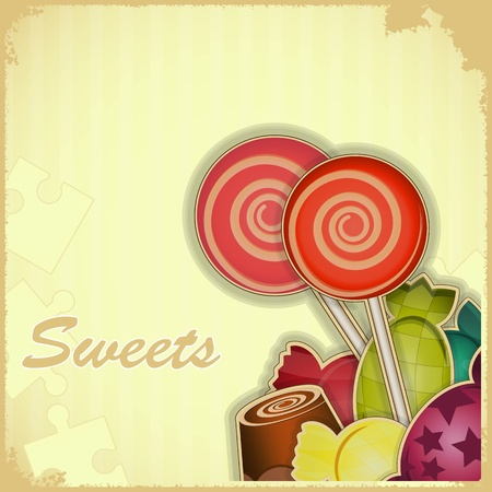 bonbons: vintage postcard - sweet candy on Retro background - vector illustration