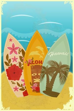 aloha: Vintage-Postkarte - Surfbretter am Strand - Vektor-Illustration