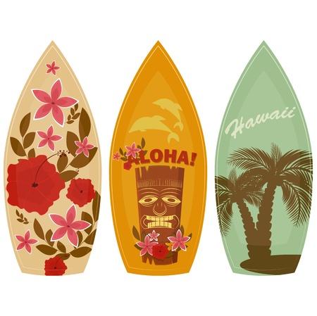 hawaiana: Tablas de surf aisladas sobre fondo blanco - ilustración vectorial