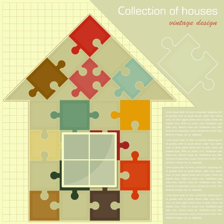 model home: Vintage card - Puzzle house. Concept - Construction - vector illustration Illustration