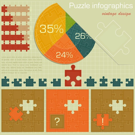 graph paper background: Vintage infographics set - puzzle Graph for presentation - vector illustration