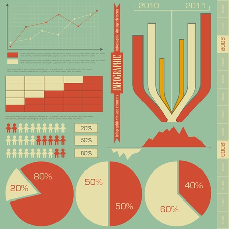 Retro elements for infographics - charts, Graphs for Presentation Vector