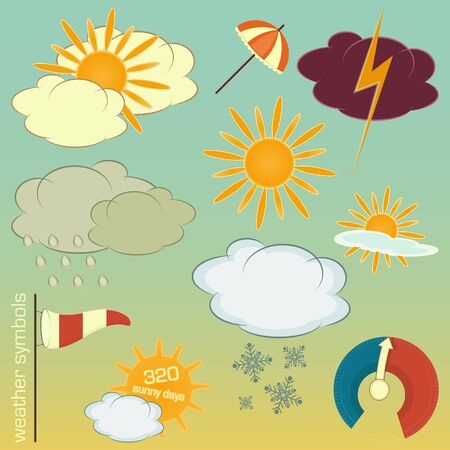 Set of Weather symbols and icons in retro style Vector