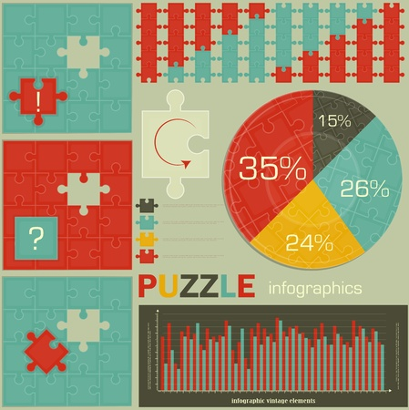 visualize: elements of Puzzle for Infographics - charts and graphs for presentations