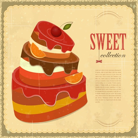 Vintage pastry Menu - Big Chocolate Fruit Cake with oranges and cherries - Retro background with place for text