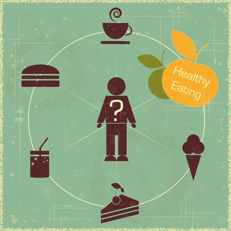 eating food: Infografica - Vintage concetto di cibo sano