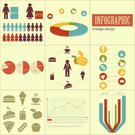 perro comiendo: Elementos de la infograf�a para las presentaciones de la comida r�pida y la alimentaci�n saludable