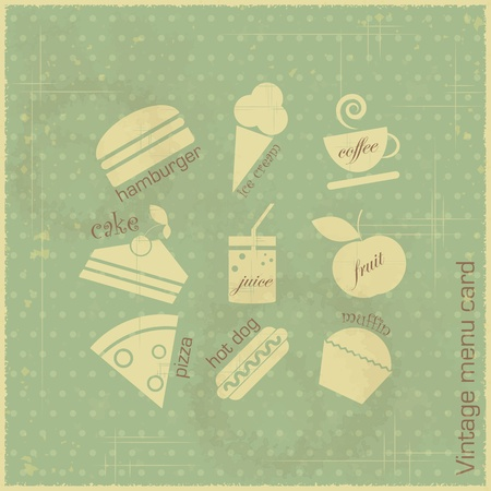 Retro menu card - food icons on vintage blue background - vector illustration Vector