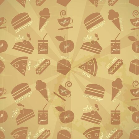 Retro seamless background - food icons in vintage style - vector illustration Vector
