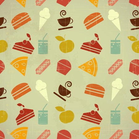 Retro seamless color background - food icons in vintage style - vector illustration Vector