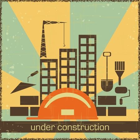 under construction symbol: Retro Poster of Under Construction - building icons on grunge background - vector illustration