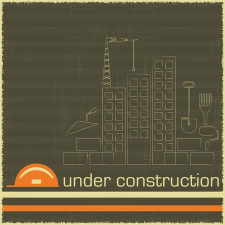 work in progress: Retro Poster of Under Construction in black and orange color - building icons on grunge background - vector illustration