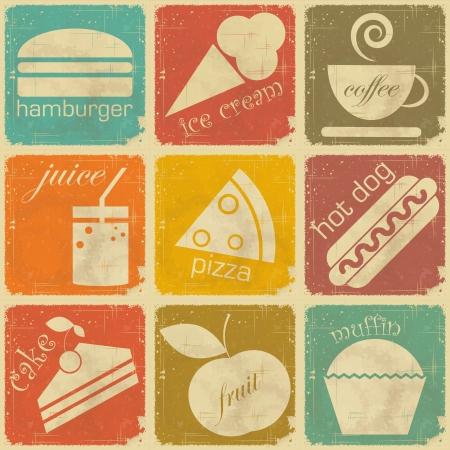 pizza: set van Vintage etiketten van voedingsmiddelen - Retro Signs met grunge effect Stock Illustratie