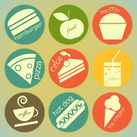 set of Vintage Food round Labels - Retro Signs Vector