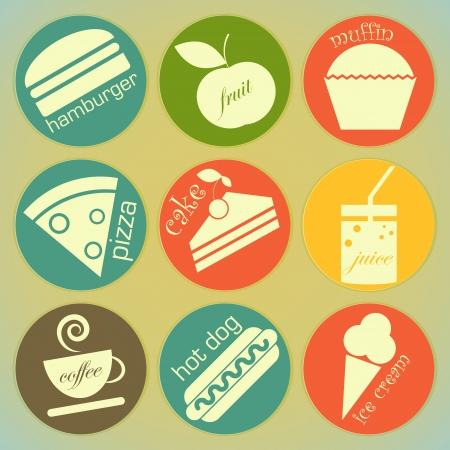 set of Vintage Food round Labels - Retro Signs Vector