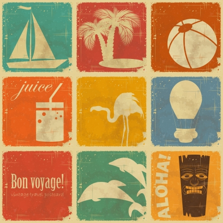 postcard template: set of Vintage Travel Labels - Retro Signs with Grunge Effect