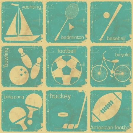 set of Vintage Sport separate  Labels - Retro Signs with Grunge Effect Vector