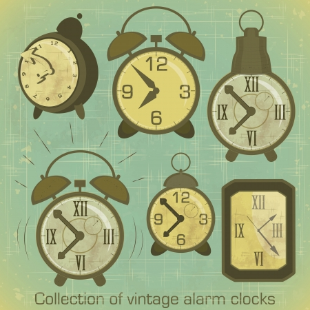 Collection of Vintage Alarm Clocks with Grunge Effect Vector
