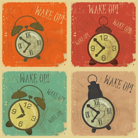 wake: set of Vintage  Labels - Retro cards with Grunge Effect - Retro Alarm Clock with text: Wake up!