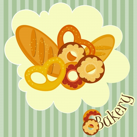 bakery sign: Bakery Card - Cover Menu for bakery Illustration