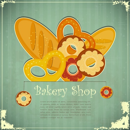 donut shop: Design Vintage card for Bakery Shop, Cover menu with place for text - vector illustration