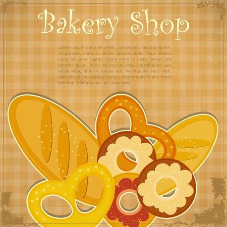 bread shop: Card Design Vintage per Panificazione, menu di copertura con posto per il testo - illustrazione vettoriale