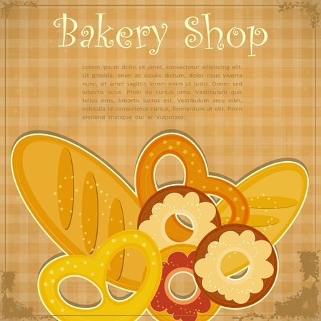bakery products: Design Vintage card for Bakery, Cover menu with place for text - vector illustration Illustration