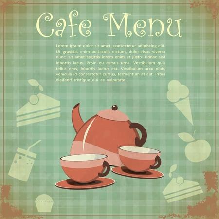 tea set: Vintage Cover Cafe Menu - Tea set on Retro background - vector illustration Illustration