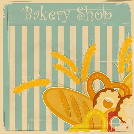 буханка: Дизайн Обложка меню для Bakery, Ретро открытка с местом для текста - векторные иллюстрации