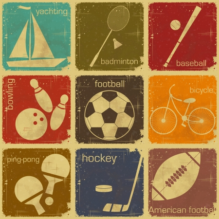 badminton: set of Vintage Sport separate  Labels - Retro Signs with Grunge Effect in colo Illustration