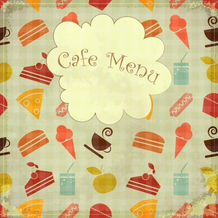 Retro seamless Menu cover - food icons in vintage style Vector