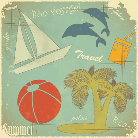 Retro Postcard - Summer travel theme on Grunge background Stock Vector - 13724752