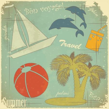 Retro Postcard - Summer travel theme on Grunge background Stock Vector - 13724752