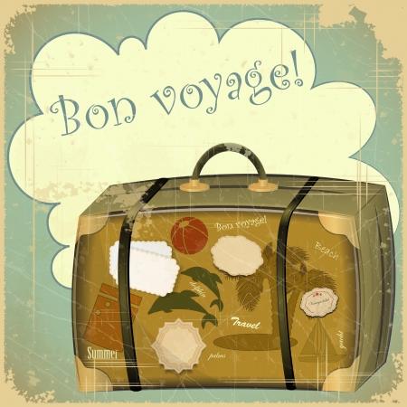 vintage travel: Rétro carte postale d'été - valise Voyage Illustration