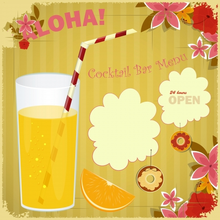 Design Menu card for Cocktail Bar - glass of orange juice, floral background, place for text  Vector
