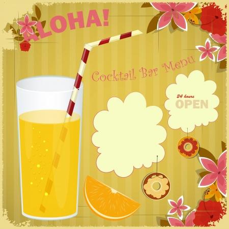 tropical drink: Dise�o de Tarjeta de men� para el Cocktail Bar - vaso de jugo de naranja, fondo floral, lugar para el texto
