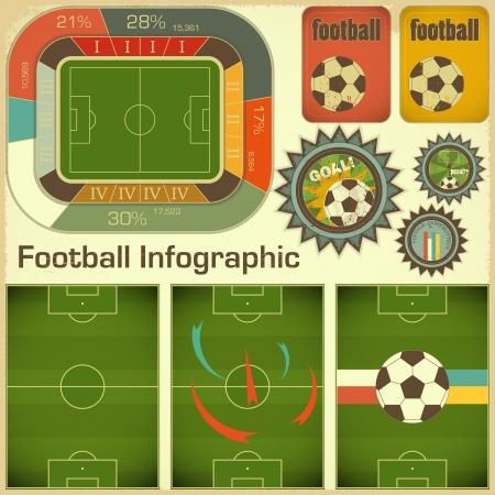 football match: Elementi di calcio infographic per la presentazione in stile retr� - illustrazione Vettoriali