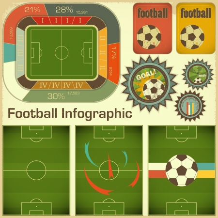 stade de football: �l�ments de football Infographie pour la pr�sentation dans le style r�tro - illustration Illustration