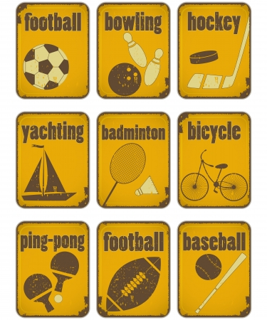 set of Sport separate Signs  - Retro Labels with Grunge Effect in yellow color - illustration Vector