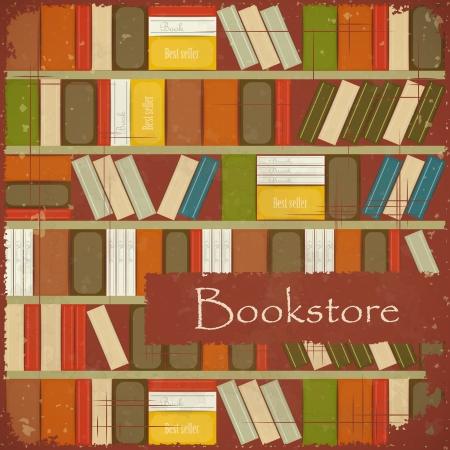 buchhandlung: Weinlese-Buchhandlung Hintergrund Illustration