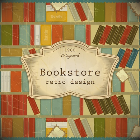 shelf with books: Vintage Book Background in scrapbooking style Illustration