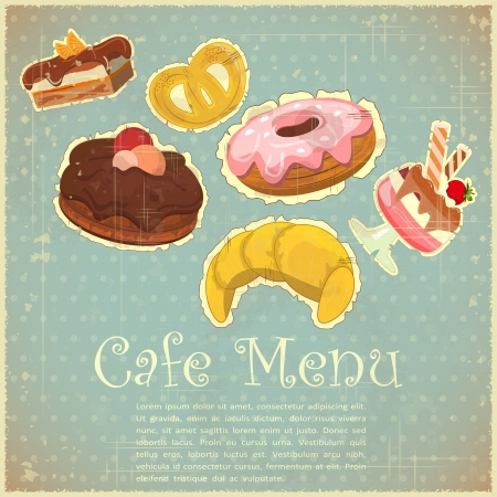 Vintage Cover Cafe or Confectionery Menu - Tea set on Retro background  Vector