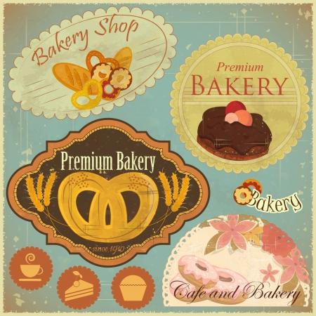 bakery sign: Juego de panader�a de la vendimia y Cafe Etiquetas, escudos y los iconos