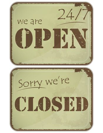 welcome business: Set of signs: Open - closed - 24 hours, Grunge style Illustration